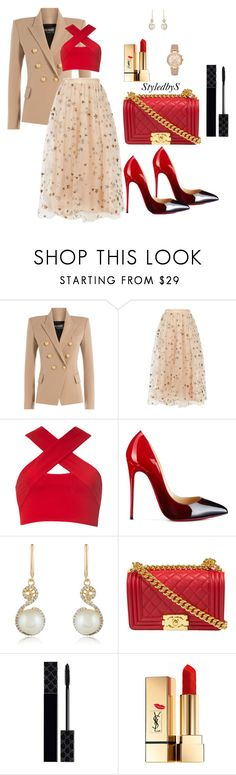"""StyledbyS"" by sforstylebys on Polyvore featuring Balmain, Valentino, Motel, Christian Louboutin, Effy Jewelry, Gucci, Yves Saint Laurent, Michael Kors, StreetStyle and DateNight"