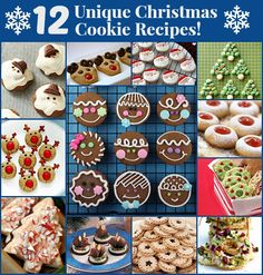 12 unique Christmas cookie recipes. These are great for thoughtful gifts!