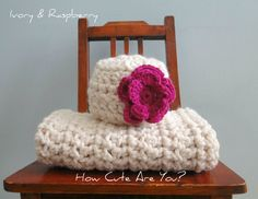 Baby Hat and Blanket Set Girl Crochet Chunky Ivory and Pink Raspberry - Many Colors - Blanket featured in Pregnancy and Newborn Magazine. $40.00, via Etsy.