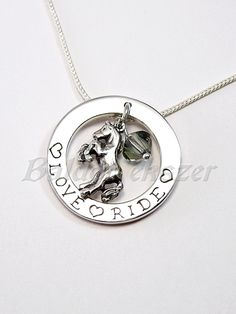 Silver necklace with horse by BaldorJewelry on Etsy Silver Horse, Chain Pendants, Washer Necklace, Swarovski, Horses, Sterling Silver, Beads, Jewelry, Beading