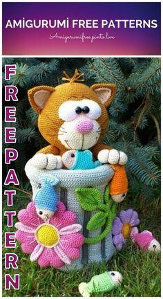 Amigurumi Cute Cat in Trash Can Free Crochet Pattern - Amigurumi Free Pinto Live Crochet Amigurumi Free Patterns, Crochet Animal Patterns, Stuffed Animal Patterns, Free Crochet, Crochet Lace, Crochet Elephant, Animal Crafts For Kids, Crochet Projects, Double Crochet