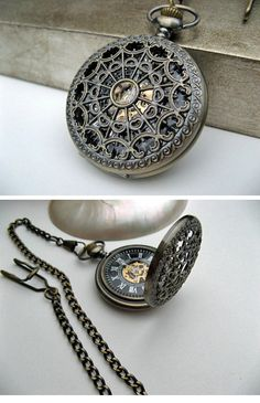 Antique Bronze Pocket Watch - 1882's Steampunk Mechanical Pocket Watch with Pocket Watch Chain ( etsy :: http://www.etsy.com/listing/97817656/antique-bronze-pocket-watch-1882s?ref=sr_gallery_7_search_query=watch_view_type=gallery_ship_to=ZZ_min=0_max=0_search_type=handmade_facet=handmadewatch )
