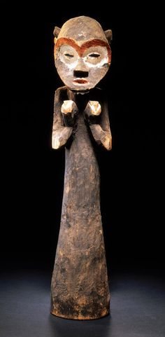 Africa | Trumpet (tawong) from the Mambila people of Nigeria | Wood and pigment