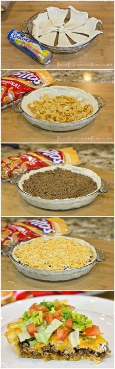 Frito Taco Pie With A Crescent Dough Crust. Crescent dough crust can be left out. I Love Food, Good Food, Yummy Food, Beef Dishes, Food Dishes, Main Dishes, Easy Appetizer Recipes, Dinner Recipes, Meat Appetizers