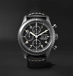 Breitling Navitimer 8 Chronograph Black Steel And Leather Watch Breitling Superocean Heritage, Breitling Navitimer, Best Watches For Men, Luxury Watches For Men, Cool Watches, Popular Watches, Stylish Watches, Men's Watches, Swiss Army Watches