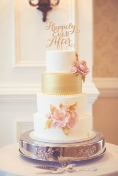 Ivory, Gold and Pink Wedding Cake