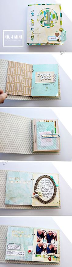 Süßes Mini-Album von Elizabeth Kartchner AC Dear Lizzy idea per rilegatura Mini Albums Scrap, Mini Scrapbook Albums, Scrapbook Pages, Scrapbook Photos, Journal Inspiration, Do It Yourself Inspiration, Scrapbooking Album, Scrapbook Journal, Scrapbooks