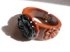RARE LG CHUNKY CARVED BROWN/BLACK BAKELITE CUFF BRACELET Old Vtg Costume Jewelry   eBay