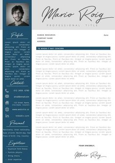 Eye-catching Professional Resume + Cover letter Template Editable for MS Word - Curriculum Vitae - English CV with Fonts included - Resume Cover Letter Template, Cv Template, Letter Templates, Resume Templates, Professional Resume, Human Resources, Company Names, Good Mood, Lorem Ipsum
