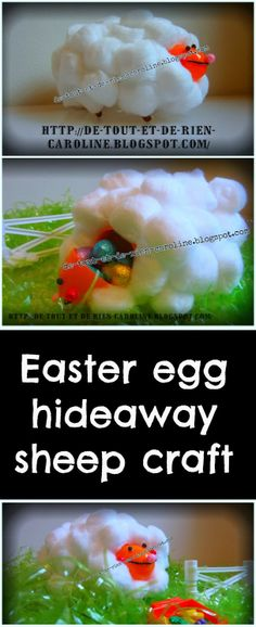 Easter egg hideaway craft with a tp roll. This sheep is so huggable!