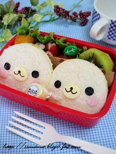 Baby Harbor seal sandwich bento  Mamegomas!! Con almuerzos asi...  www.facebook.com/paraisokawaii
