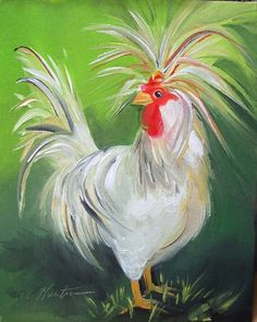 Rooster Painting, Rooster Art, Tole Painting, Painting & Drawing, Watercolor Paintings, Acrylic Paintings, Chicken Painting, Chicken Art, Learn To Paint