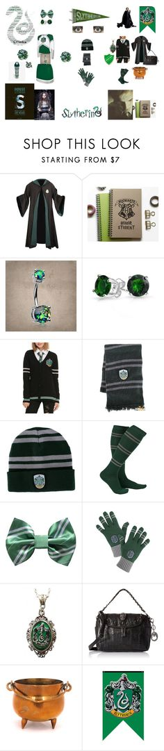 """Slytherin Girl"" by queenharley666 ❤ liked on Polyvore featuring Bling Jewelry, Warner Bros., Alkemie and Bellatrix"