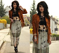 Get this look: http://lb.nu/look/8207209  More looks by Tessa Diamondly: http://lb.nu/tessadiamondly  Items in this look:  Spell Designs Fringe Jacket, Romwe Mandala Fringe Beaded Crop Top, Zara Tie Dye Skirt   #bohemian #edgy #grunge #70s #bohochic #festival #festivalfashion #coachella