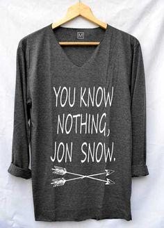 Vous ne savez rien Jon Snow chemises Game of Thrones Shirt col v manches longues unisexe taille S M L
