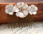 Wedding Hair Comb - Vintage Wedding Collage Hair Comb, Maid Of Honor, Bridesmaids Gifts. Bridal Hair, shabby chic - Vintage collection. $59.00, via Etsy.