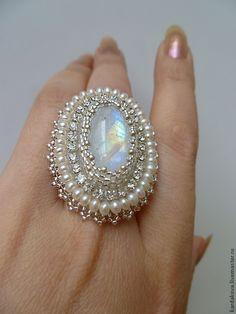"""Купить Кольцо с адуляром """"Лунный свет"""" - белый, кольцо с камнем, кольцо с адуляром, лунный камень"""
