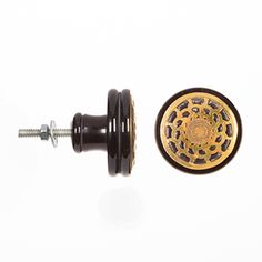 Decorative+Knobs:+Black+Knob+with+Gold+Medallion+Face