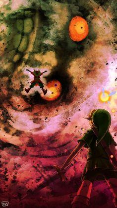 The Legend of Zelda Majora's Mask - Link and Skullkid The Legend Of Zelda, Zelda Majoras Mask, Majora Mask, Hyrule Warriors, Video Game Art, Video Games, Manga Anime, Fan Art, Twilight Princess