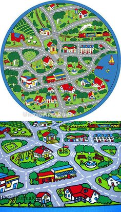 Rugs 154001: 8X8 Round Rug Play Road Driving Time Street Car Kids City Fun  Time