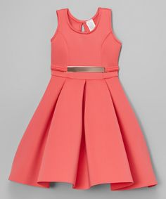 Another great find on #zulily! Coral Belted Pleated A-Line Dress - Toddler by Sinai Kids #zulilyfinds