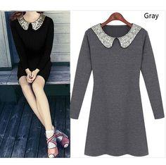 Vintage Style Sequin Collar Long Sleeve Black Grey Dress S M L XL 3828