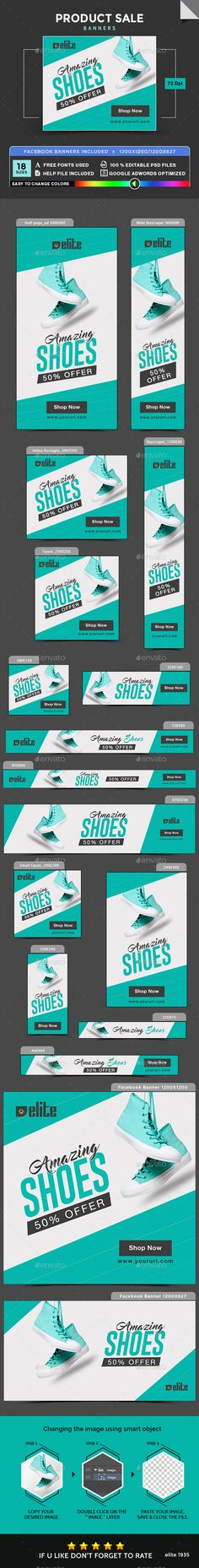 Product Sale Banners by doto Promote your Products and services with this great looking Banner Set. Edm Template, Banner Template, Website Template, Templates, Web Design, Web Banner Design, Web Banners, Flat Design, Banner Sample