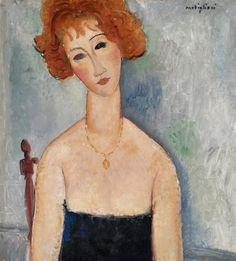 Redheaded Woman Wearing A Pendant 1918 Canvas Print / Canvas Art by Modigliani Amedeo Amedeo Modigliani, Modigliani Paintings, Oil Paintings, Willem De Kooning, Paul Gauguin, Mark Rothko, Art For Sale Online, Italian Painters, Art Database