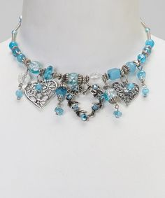 Take a look at this Turquoise Coil Heart Necklace by Adra Jewelry on #zulily today!