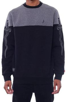 213d4865d57aa 8 9 Clothing The Daggers Split Crewneck in Grey and Black Crooks And  Castles