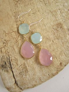 Gemstone Earrings Sea Green Chalcedony Rose by julianneblumlo, $94.00