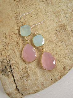 Gemstone Earrings Sea Green Chalcedony Rose. #Gemstone #Stunning Earrings