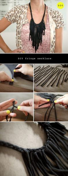 Easy DIY fringe necklace. You can recycle old t-shirts :)