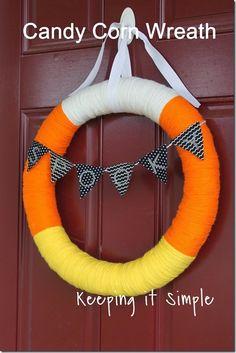 DIY Candy Corn Yarn Wrapped Wreath