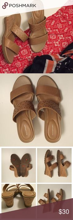 """Rockport Wedges Sz 9 Leather upper. Excellent condition. Approx 3"""" heel. Rockport Shoes Sandals"""