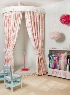 Transform your toddler's playroom or bedroom with this dress-up corner and stage! This is a wonderful way to encourage your little girl and her friends to play pretend, make believe, and let their imaginations soar.