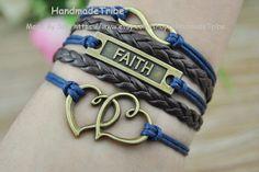 Ancient Bronze Infinity Hope & Heart Charm Navy by HandmadeTribe, $4.00 Beautiful handmade leather bracelet