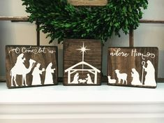 The perfect addition to your seasonal Christmas and holiday décor! Set of 3 rustic wood Christmas blocks hand-painted with the nativity manger scene. These are the perfect size for a mantle, window sill, bookshelf, end table or anywhere else you can think of and can be arranged in