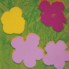 Andy Warhol - Flowers, 1970 (1 yellow, 2 lilac, 1 purple)