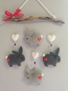 This item is not available - Bunnies Driftwood Mobile - Diy And Crafts, Crafts For Kids, Hedgehog Craft, Yarn Wall Art, Felt Crafts Patterns, Diy Bebe, Felt Garland, Baby Sewing Projects, Christmas Sewing