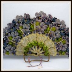 Victorian Paper Fan Featuring Violets Z Antique Fans, Vintage Fans, Hand Held Fan, Hand Fans, Vintage Calendar, Sweet Violets, Paper Fans, Hot Flashes, Pansies