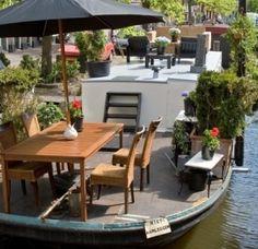 Terrace of  Houseboat in Amsterdam