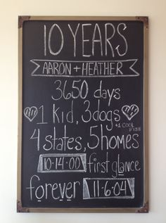 10 year anniversary chalkboard Ten Year Anniversary Gift, Anniversary Chalkboard, Wedding Anniversary Pictures, Anniversary Dinner, Anniversary Ideas, Anniversary Photography, Renewal Wedding, Chalkboard Ideas, Countries