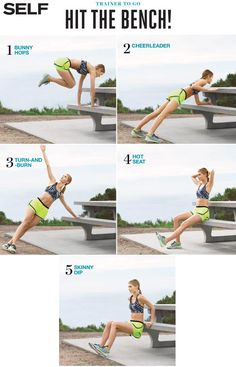 "Fitness Inspiration : Illustration Description Turn any park bench into a DIY gym with this five-move, full-body strength routine. ""Sweat is fat crying"" ! Killer Workouts, Toning Workouts, Easy Workouts, Workout Routines, Fitness Workouts, Fitness Tips, Park Workout, Stadium Workout, House Workout"