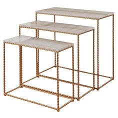 Set of 3 Nested Console Tables with Faux Marble Tops Gold - Stylecraft Age Group: Adult. Set of 3 Nested Console Tables with Faux Marble Tops Gold - Stylecraft Metal Tv Stand, Gold Powder, Sofa Tables, Console Tables, Base, Nesting Tables, Marble Top, Home Collections, Table Furniture