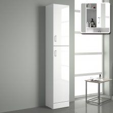 1900x300mm Quartz Gloss White Tall Storage Cabinet Floor Standing