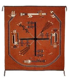 Sandpainting Rugs - Navajo  first woven by Hosteen Klah. Read about it in Leaphorn & Chee mysteries, by Tony and Anne Hillerman.