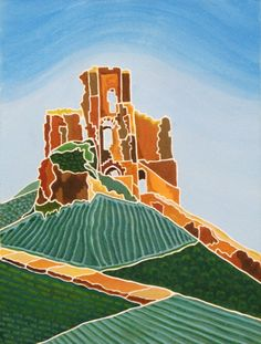 Green Patterns of Corfe Castle – Acrylic ink in 30x40cm Antique White mount by Hilary Buckley