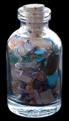 Mixed Gemstone Chips in Glass Bottle - Click Image to Close