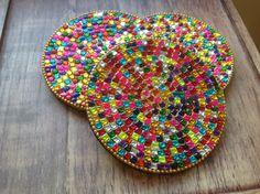 £3.00 Rainbow glass beads coaster, handmade in India. #Fairtrade #Coasters #India #Drinks